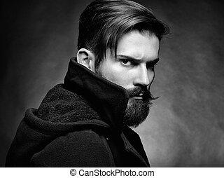 retrato, de, bonito, homem, com, barba