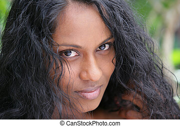 retrato, de, bonito, indianas, mulher