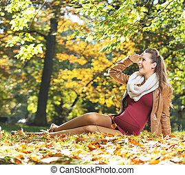 retrato, de, bonito, mulher grávida