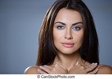retrato, de, bonito, mulher jovem