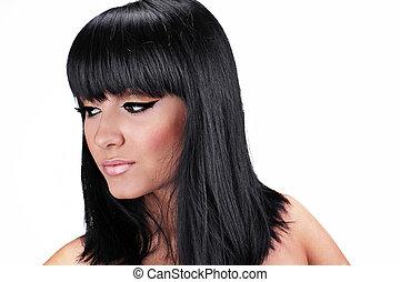 retrato, de, bonito, mulher jovem, com, direito, cabelo moreno, posar, isolado, branco, fundo