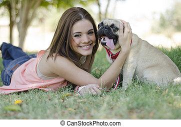retrato, de, cão, proprietário, e, dela, cão
