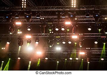 retrato, de, concerto, luzes, ligado, música, fase