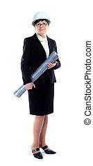 retrato, de, confiante, femininas, trabalhador, em, branca, capacete