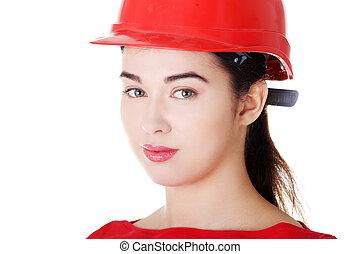 retrato, de, confiante, femininas, trabalhador, em, helmet.