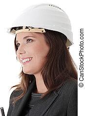 retrato, de, confiante, femininas, trabalhador