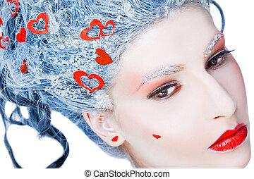 retrato, de, congelado, rosto mulher