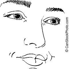 retrato, de, delicado, guapo, soñador, todavía, mujer, negro y blanco, vector, drawing.