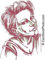 retrato, de, delicado, romántico, guapo, mujer, colorido, vector, drawing., emocional, expresiones, idea, image.