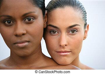 retrato, de, dos mujeres