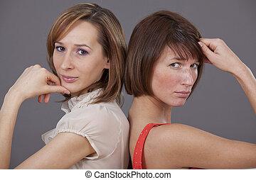 retrato, de, dos mujeres, en, estudio