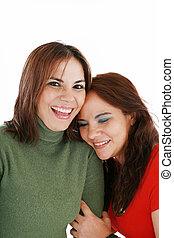 retrato, de, dos mujeres, reír