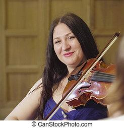retrato, de, dos mujeres, tocar la música