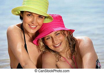 retrato, de, duas mulheres, praia