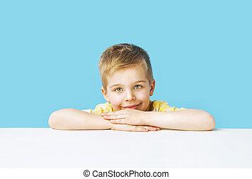 retrato, de, el, calma, lindo, niño