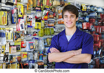retrato, de, el, dueño, de, un, mejoramiento de las condiciones del hogar, tiendas