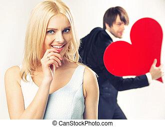 retrato, de, el, valentino, pareja