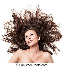 retrato, de, excitado, mulher sorridente, com, perfeitos, cabelo, isolado, branco