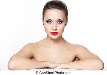 retrato, de, excitado, sério, sentando, caucasiano, mulher...