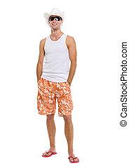 retrato, de, férias, sorrindo, homem jovem, em, óculos de sol, e, feriado, chapéu
