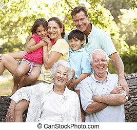 retrato, de, família prolongada, grupo, parque