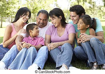retrato, de, familia extendida, grupo, en el estacionamiento
