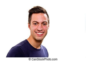 retrato, de, feliz, bonito, homem jovem