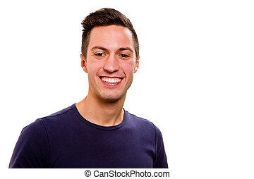 retrato, de, feliz, bonito, homem jovem, isolado