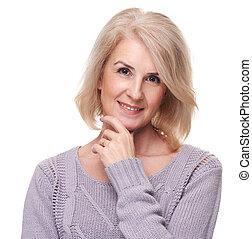 retrato, de, feliz, envelhecido, mulher