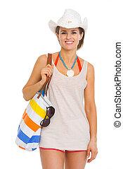 retrato, de, feliz, jovem, praia, mulher, em, chapéu