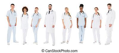 retrato, de, feliz, multiracial, equipe médica