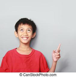 retrato, de, feliz, niño, señalar