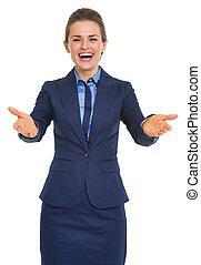 retrato, de, feliz, para ver, usted, mujer de negocios