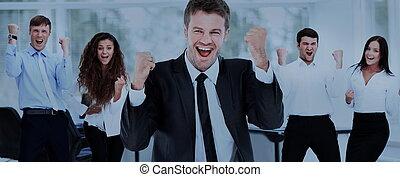 retrato, de, feliz, sucedido, negócio, grupo, em, escritório