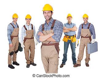 retrato, de, feliz, trabajadores construcción