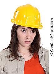 retrato, de, femininas, trabalhador