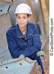 retrato, de, femininas, trabalhador construção