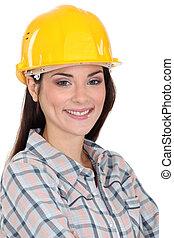 retrato, de, femininas, trabalhador manual
