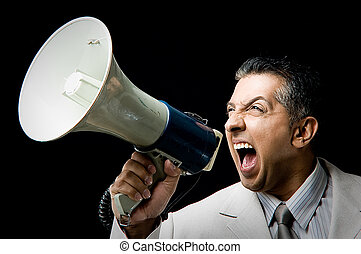 retrato, de, gerente, shouting, em, orador alto
