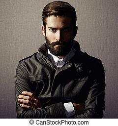 retrato, de, guapo, hombre, con, barba