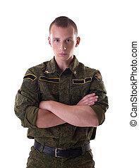 retrato, de, guapo, hombre, en, militar, forma