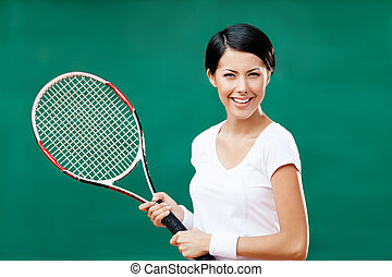 retrato, de, hembra, jugador del tenis