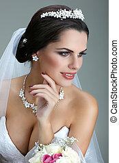 retrato, de, hermoso, bride., boda, dress., boda, decoración