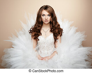 retrato, de, hermoso, bride., foto boda