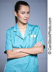 retrato, de, hermoso, doctora