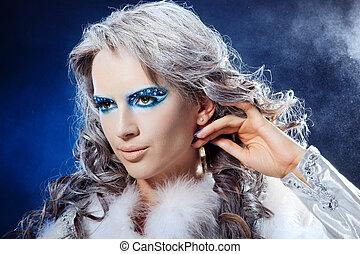 retrato, de, hermoso, ella/los/las de niña, fantasía, maquillaje