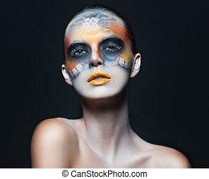 retrato, de, hermoso, encanto, niña, con, oscuridad, maquillaje ojo, en, el, f