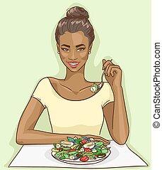 retrato, de, hermoso, mujer negra