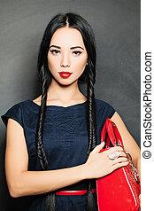 retrato, de, hermoso, sensual, mujer, con, elegante, moda, hairstyle., perfecto, makeup., niña, con, coleta