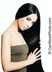 retrato, de, hermoso, sensual, mujer, con, elegante, peinado, y, perfecto, makeup., moda, foto